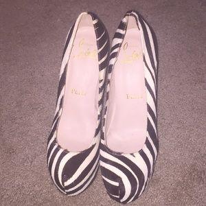 Red bottom Zebra heels